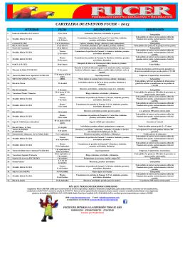 CARTELERA DE EVENTOS FUCER – 2013