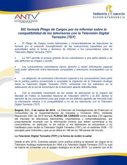 SIC Pliego de Cargos Televisión Digital Terrestre TDT