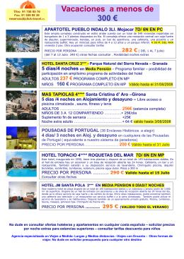 Escapadas y Vacaciones a menos de 300 euros
