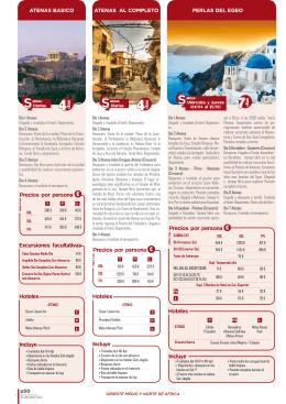 Precios por persona € Excursiones facultativas Hoteles Incluye
