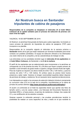Air Nostrum busca en Santander tripulantes de cabina de pasajeros