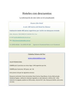 Descargar listado de Hoteles - 1° Parte - PreALAS Patagonia