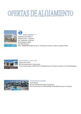 HOTEL LANCELOT * * * Avda Mancomunidad, 9 35500 Arrecife