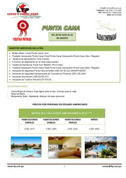 precios por personas en dólares americanos hotel ifa villas bávaro