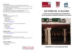 XII FORO DE ALMAGRO