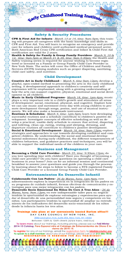 March 2015 flyer - Day Care Council of New York, Inc.