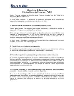 Alzamiento de Garantías Clientes Banca de Personas y PYME