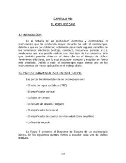 CAPITULO VIII EL OSCILOSCOPIO 8.1 INTRODUCCION. En la