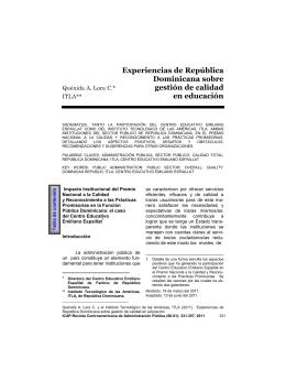 Experiencias de República Dominicana sobre gestión de calidad en