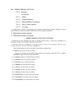 29.01 – HIDROCARBUROS ACÍCLICOS. 2901.10 – Saturados