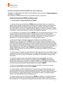 Términos y Condiciones del Servicio Mobile Visa Banco Hipotecario.