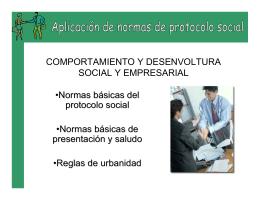 NORMAS DE PROTOCOLO Y USOS SOCIALES EN DISTINTAS