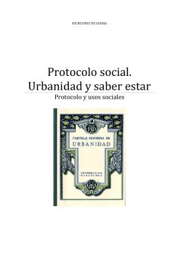 Protocolo social. Urbanidad y saber estar