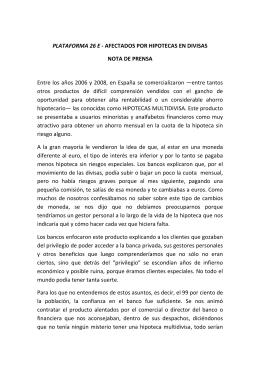 AFECTADOS POR HIPOTECAS EN DIVISAS NOTA DE PRENSA