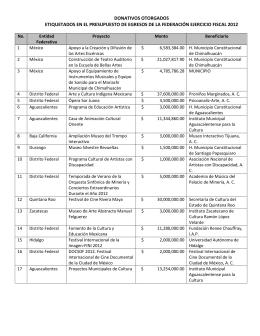 Otorgamiento de donativos 2012 - Consejo Nacional para la Cultura