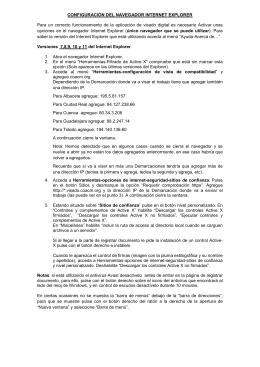 CONFIGURACIÓN DEL NAVEGADOR INTERNET EXPLORER Para