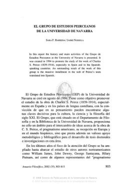 EL GRUPO DE ESTUDIOS PEIRCEANOS DE LA UNIVERSIDAD