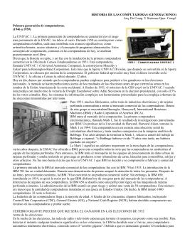 HISTORIA DE LAS COMPUTADORAS (GENERACIONES) Arq. De