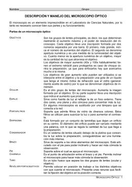 DESCRIPCIÓN Y MANEJO DEL MICROSCOPIO ÓPTICO