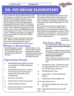 DR. SUE SHOOK ELEMENTARY Septiembre