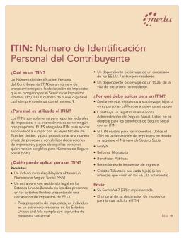 ITIN: Numero de Identificación Personal del Contribuyente