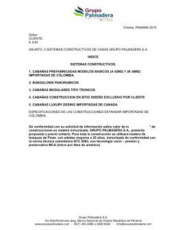 Catalogo de Cabañas - Grupo Palmadera S.A.