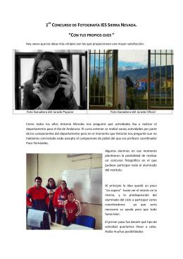 """1ER CONCURSO DE FOTOGRAFÍA IES SIERRA NEVADA. """"CON"""