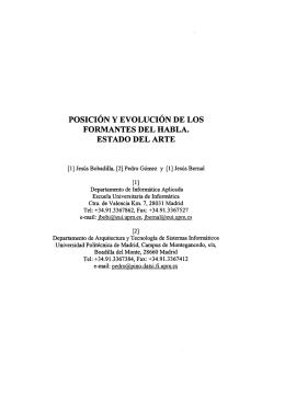 Posición y evolución de los formantes del habla. Estado del arte