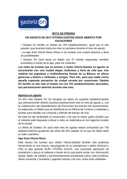 NOTA DE PRENSA EN AGOSTO DE 2013 VITORIA