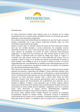 Advertencia de Seguridad - Fiesta Americana Vacation Club