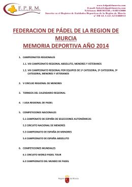 FEDERACION DE PÁDEL DE LA REGION DE MURCIA MEMORIA