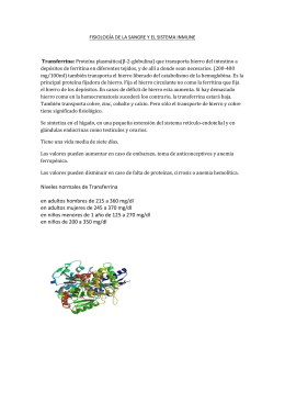 Niveles normales de Transferrina en adultos hombres de 215 a 360