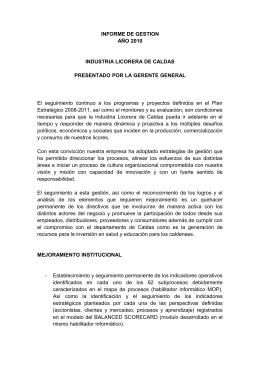 INFORME DE GESTION - Industria Licorera de Caldas