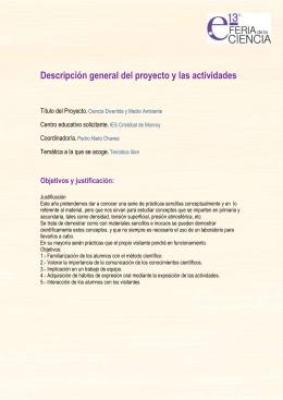Descripción general del proyecto y las actividades