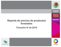 Reporte de precios de productos forestales