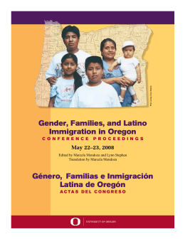 Gender, Families, and Latino Immigration in Oregon Género