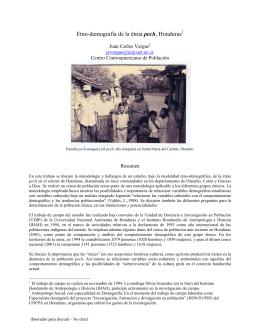 Etno-demografía de la étnia pech, Honduras