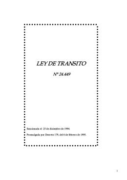 LEY DE TRANSITO - Gobierno de la Provincia de Entre Ríos