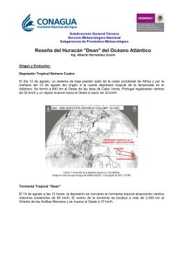 "Reseña del Huracán ""Dean"" - Servicio Meteorológico Nacional"