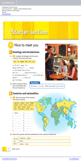 English In Mind Level 1 Elementary Students Book Sample Pages