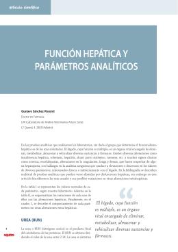 FUNCIÓN HEPÁTICA Y PARÁMETROS ANALÍTICOS