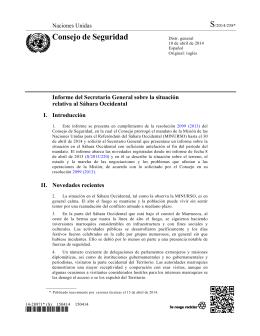 Consejo de Seguridad NNUU.- Informe Secretario General sobre