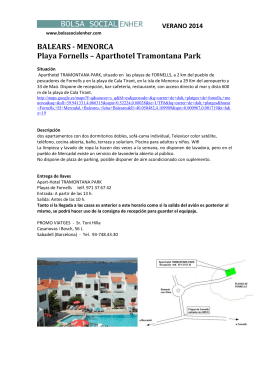 BALEARS - MENORCA Playa Fornells – Aparthotel Tramontana Park