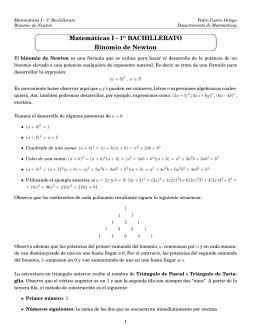 Matemáticas I - 1o BACHILLERATO Binomio de Newton
