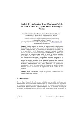 Análisis del estado actual de certificaciones CMMI