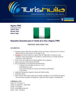 Nigeria (TWP) Requisitos Generales para el Trámite de