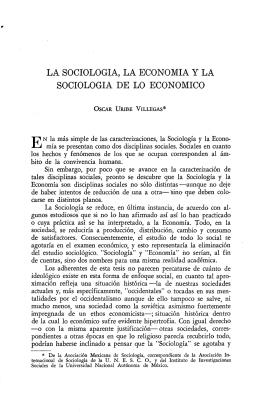LA SOCIOLOGIA, LA ECONOMIA y LA SOCIOLOGIA DE LO
