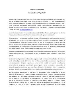 """Términos y condiciones Envío de dinero """"Pago Fácil"""" El servicio de"""
