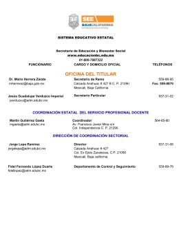 OFICINA DEL TITULAR - Sistema Educativo Estatal