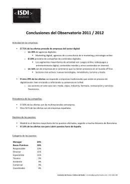 Conclusiones del Observatorio 2011 / 2012